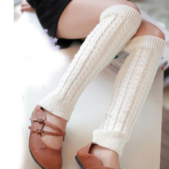 2017 Fashion Women Winter Warm Leg Warmers Knitted Crochet Long Socks Girls Socks New Women Socks