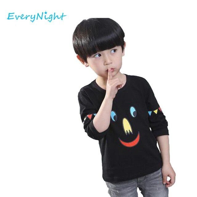 Every Night Boys t shirt Cotton Shirts For Baby Long Sleeve T-shirt Printing Children Cartoon Tops Bobo Choses Shirt Clothes