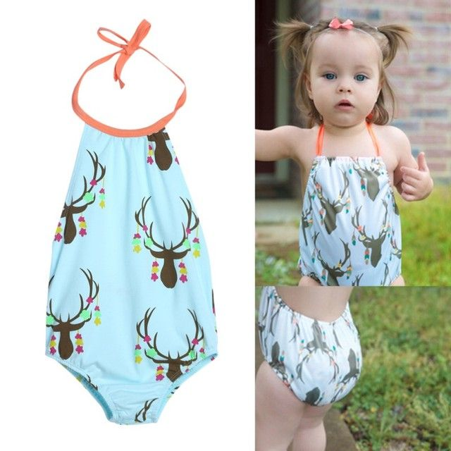 0-2Y Baby Girl Fashion Leotard Costume Leotards Sleeveless Lovely Blue Swimwear Elk head sling Leotards Clothes V2