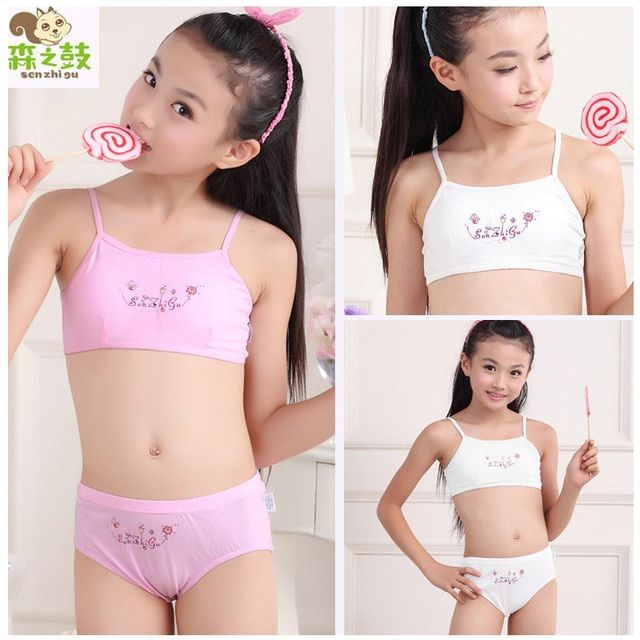 Hot sale Girl Cotton Underwear Set Training Bras Vest and Briefs Girls underwear sets Undies Puberty Teenagers Student Sport Set