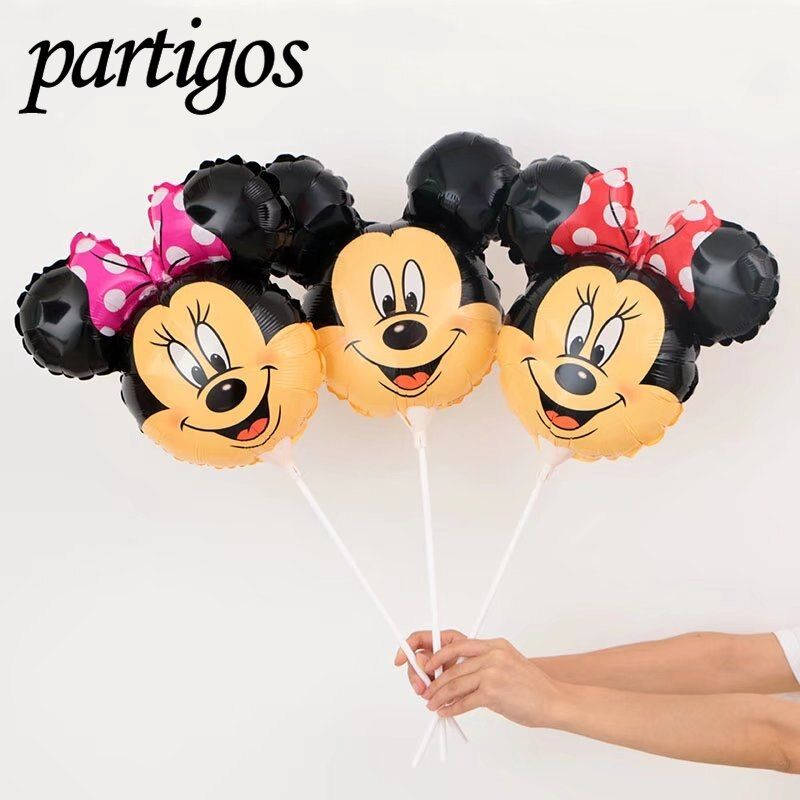 40pcs Cartoon Mickey Minnie Mouse Head Balloon With Stick 14.5inch Small Children Toys Globos Birthday Party Decor Supplies