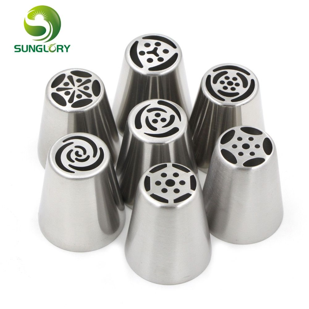 7PCS/SET Stainless Steel Russian Pastry Nozzles Fondant Icing Piping Tips Set Cake Decorating Tools Boquillas Para Reposteria