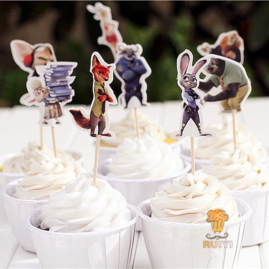 24pcs Zootopia Judy Hopps Nick Wilde candy bar cupcake toppers pick baby shower kids birthday party supplies