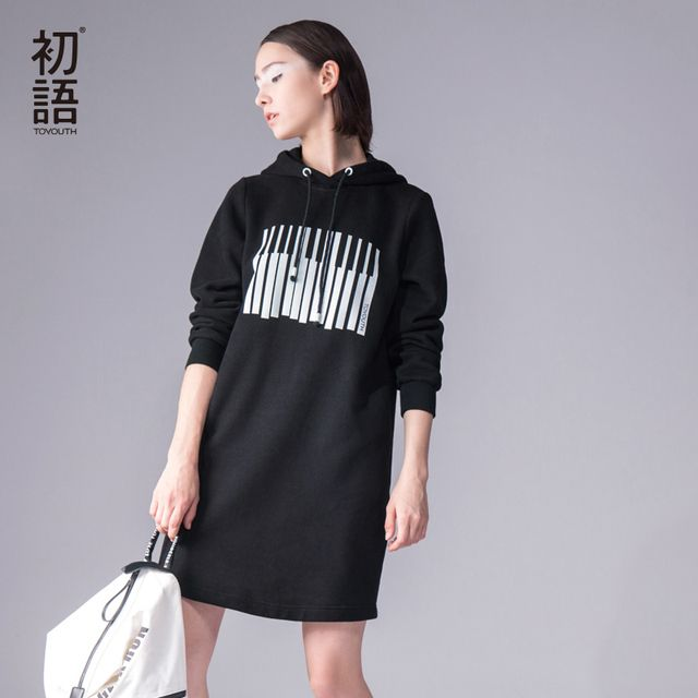 Toyouth 2017 Autumn New One Piece Dress Women Letter Print Hooded Sweatshirts Dress Fashion Long Sleeve Casual Loose Dress