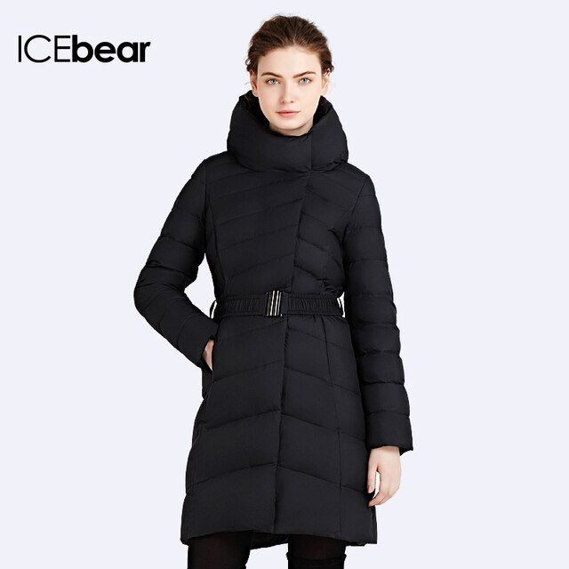 ICEbear 2016 Hooded Collar Cotton Long European Quality Zipper Womens Winter Warm Parka Over Coat Women Brand Jacket 16G663