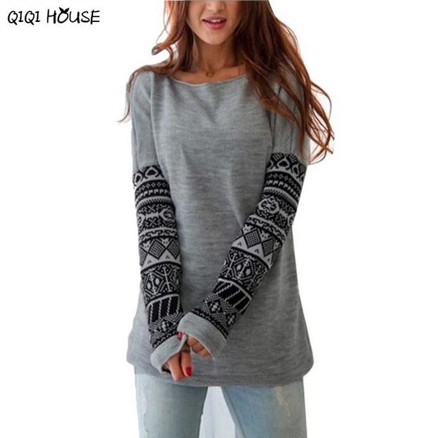 Woman Hoodies Patchwork Print Long Sleeve Autumn Pullovers Casual Loose Sweatshirts Blouse Polerones Mujer#C922