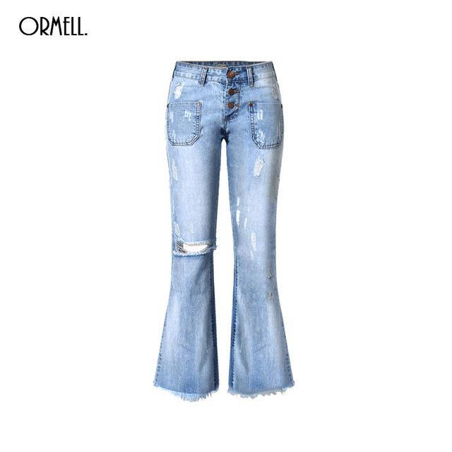 ORMELL Women Fashion Blue Denim Loose Wide Leg Pants Jeans Low Waist Stylish Hole Casual Streetwear Trousers Pantalones