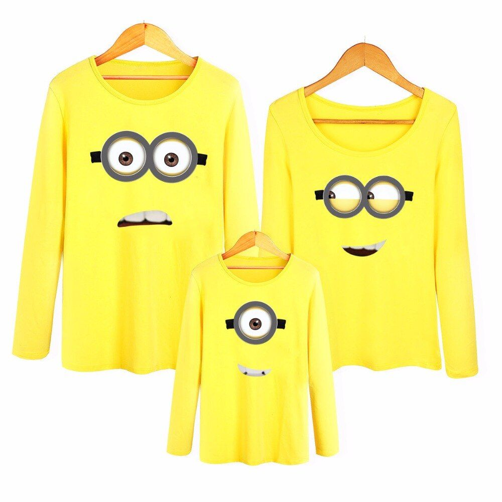 Hot Sale Family Sets Mother Daughter Father Son Matching Clothes The Little Yellow Man Big EyesLong Sleeve T-shirt Family Look