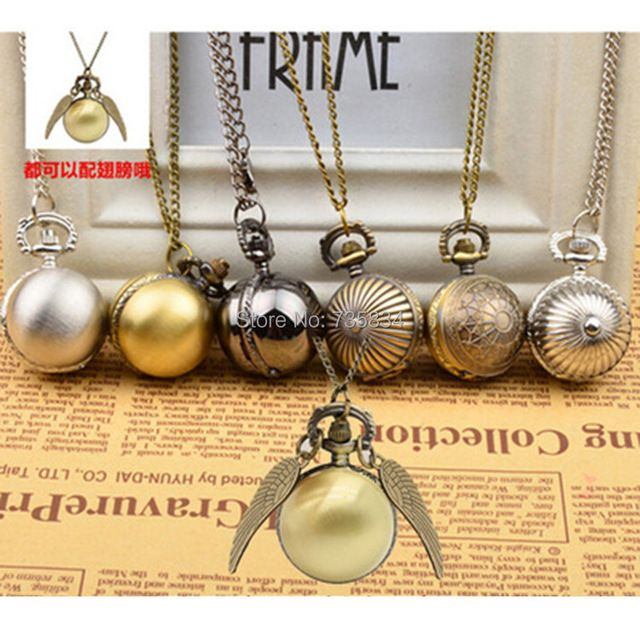 Wholesale 200pcs/lot Harry Potter snitch pocket watches necklace with chain antique pocket fob watches PW063