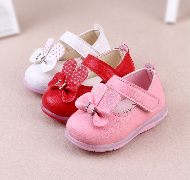 baby girls shoes 2016 new spring bow PU baby girls princess shoes fashion first walkers solid toddler shoes free shipping