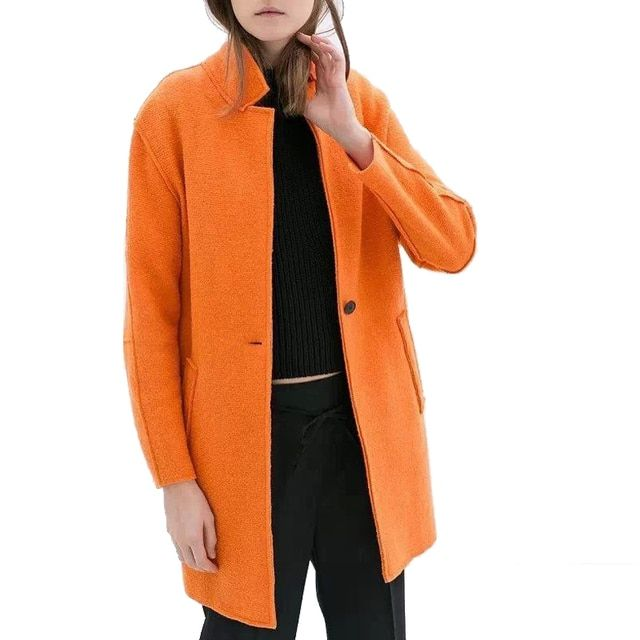 XZ200 Fashion 2016 Women Orange Woolen Coat Vintage Long Sleeve Pockets Turn-Down Collar Button Loose Outwear Casual Brand