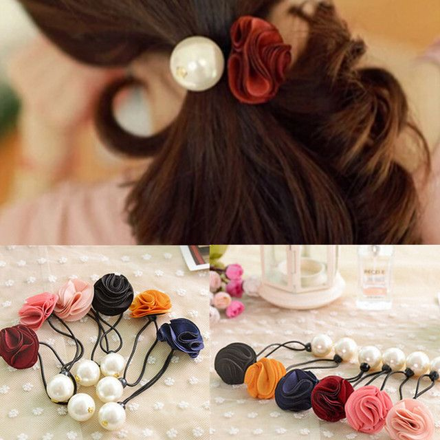 Fashion Factory Price 2015 Korean Fabric Flowers/Floral Girls Ponytail Holders Gum for Hair Ties Women's Pearl Elastic Hair B ln