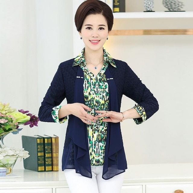Middle-aged in the spring and autumn new jumper mother the shirt so that two pieces of leisure   PB30045-1922