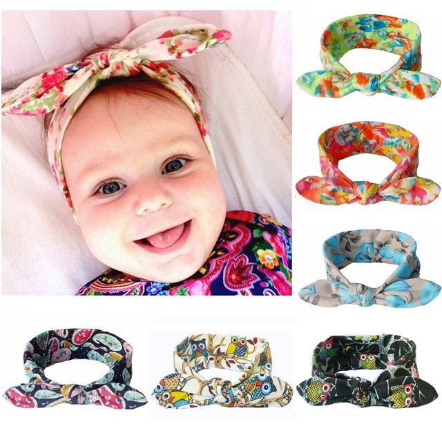 Fashion Printing Bunny Ears Hair Bows Stretch Cotton Headbands Warm Headwrap Knotted Hair Bands