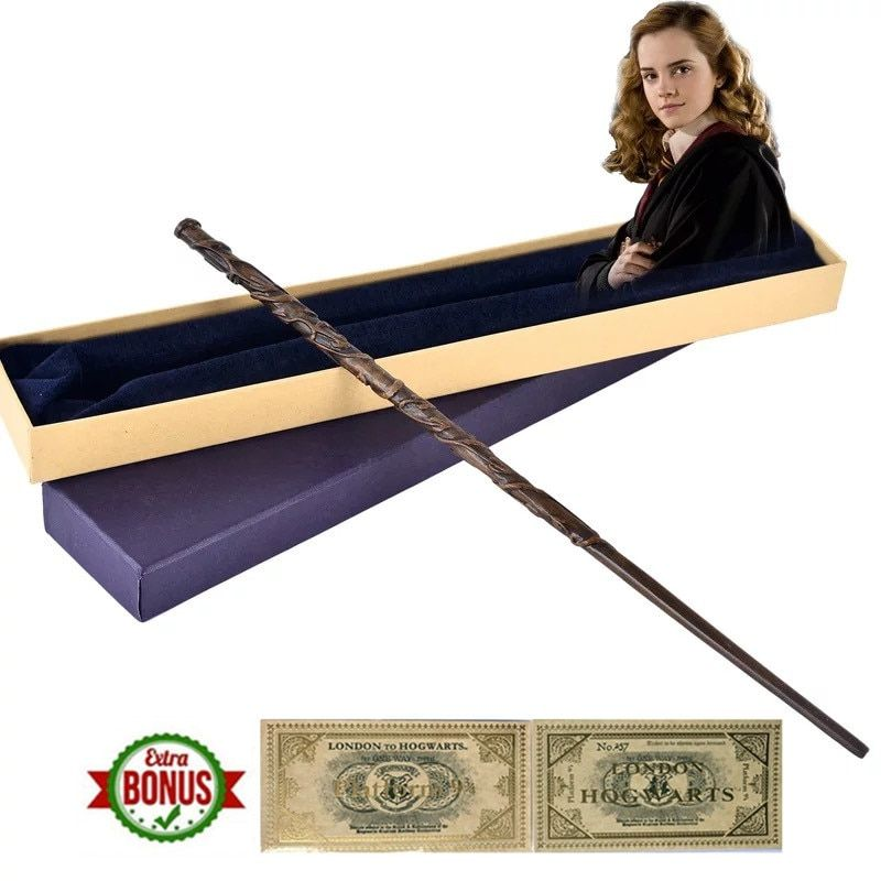 38cm Hermione Granger Magic Wand Metal Core Inside  Wizard World Gift Box Packing Cosplay Christmas Fans