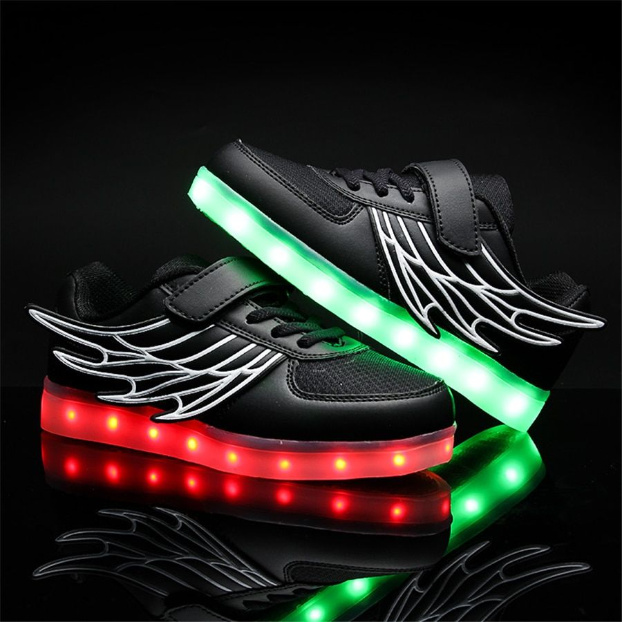 2017 Kids Casual Shoes Light Leather Shoes Girl Glowing Sneakers Usb Wings Spring Children Sneakers White Lights 50Z0017