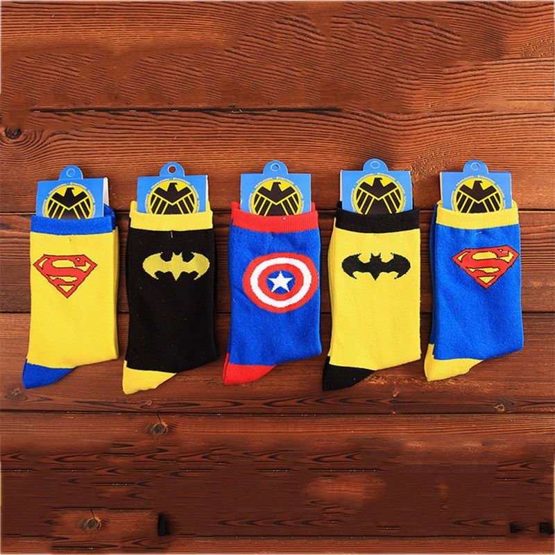 Sock Men Autumn Winter  Mid-calf Length Cotton Creative Iron Man Socks Super Man Batman Man Sock Hero Fashion 20 Pairs Lot