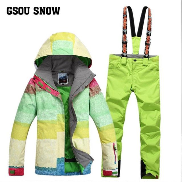 Free shipping Gsou SNOW Women's Snowboard Ski suit sets Skiing jacket+ski pants Outdoor sports waterproof thermal warm clothes