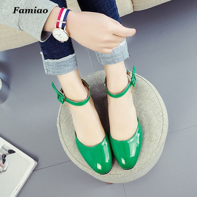 Women Pumps Spring Summer Patent Leather Shoes 2017 Fashion Sexy Ladies dress Mary Janes Zapatos Mujer Tacon