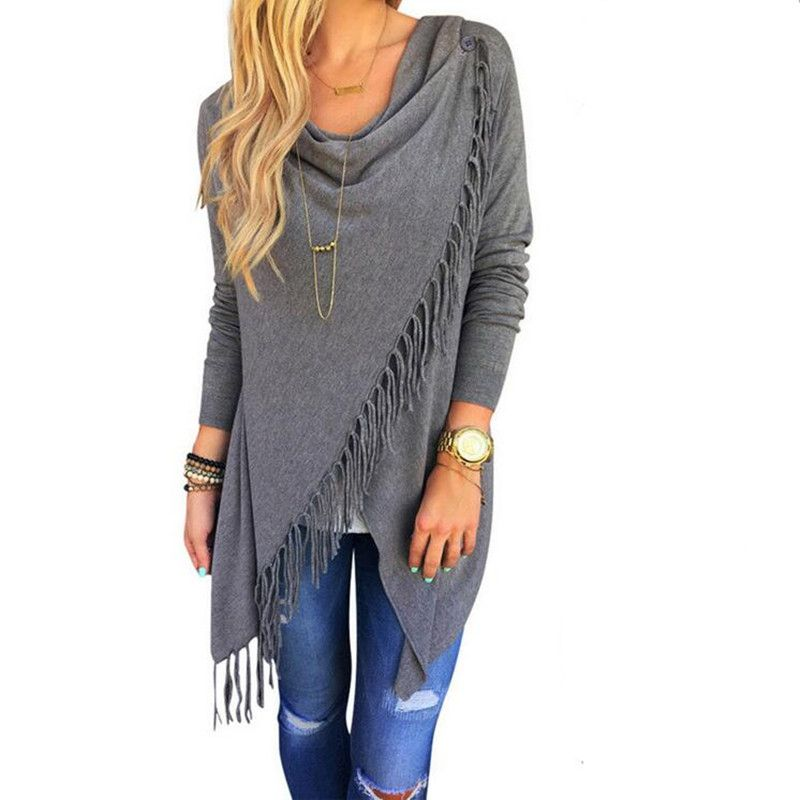 Autumn 2016 Women Long Sleeve Irregular Hem Tassels Cardigan Female Casual Loose Sweater Outwear Jacket Poncho Coat