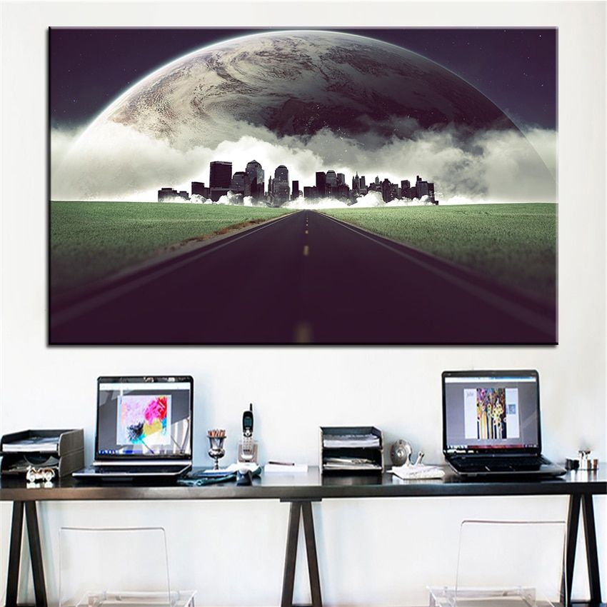 Large size Printing Oil Painting city life upgrade Wall painting Decor Wall Art Picture For Living Room painting No Frame