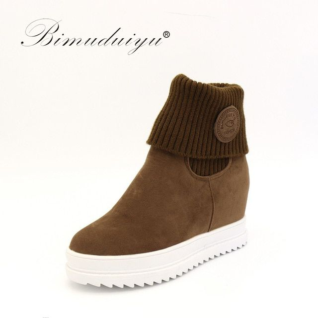 BIMUDUIYU  Autumn Winter  Women Ankle Boots Height Increase Inside Lady All Match Daily Casual Shoes Solid Color Concise Design