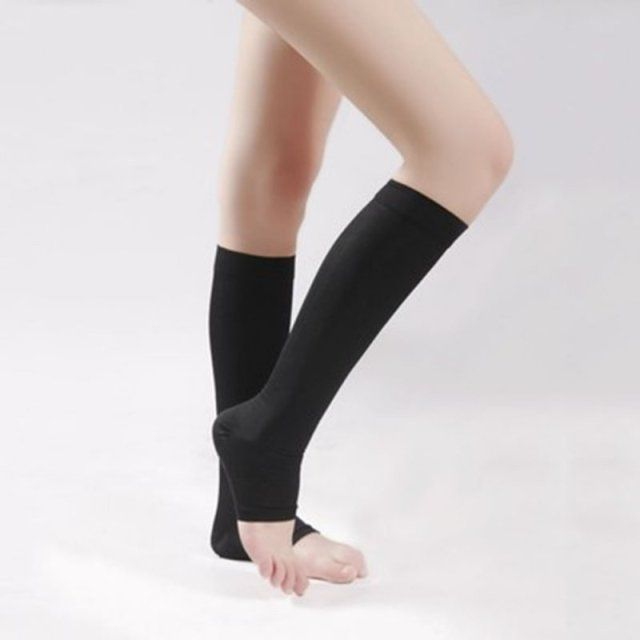 18-21mm Hg COMPRESSION KNEE HIGH Open Toe Men Women Support Stockings