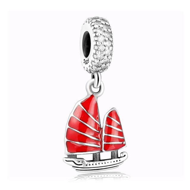 Original Silver Jewelry Chinese Red Junk Ship Crystal Charms 925 Pendant Beads For Bracelet Snake Chain Necklace DIY Women Gifts