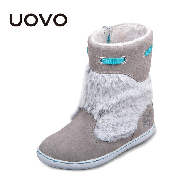 Uovo Brand Kids Suede Boots Grey Color Girls Winter Shoes Chaussure Enfant Fashion Plush Decoration Children Botas Ninas EU28-39