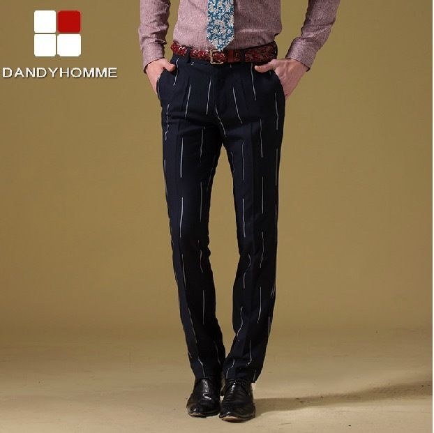 DANDY HOMME HIGH QUALITY 2017 new men autumn spring slim casual deep blue purple stripe suits long pants wedding business pant