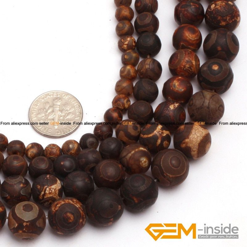 "Natural Round Brown Vintage Dzi Beads Tibet agates Beads For Jewelry Making Strand 15"" DIY Bracelet Necklace Jewelry Loose Beads"