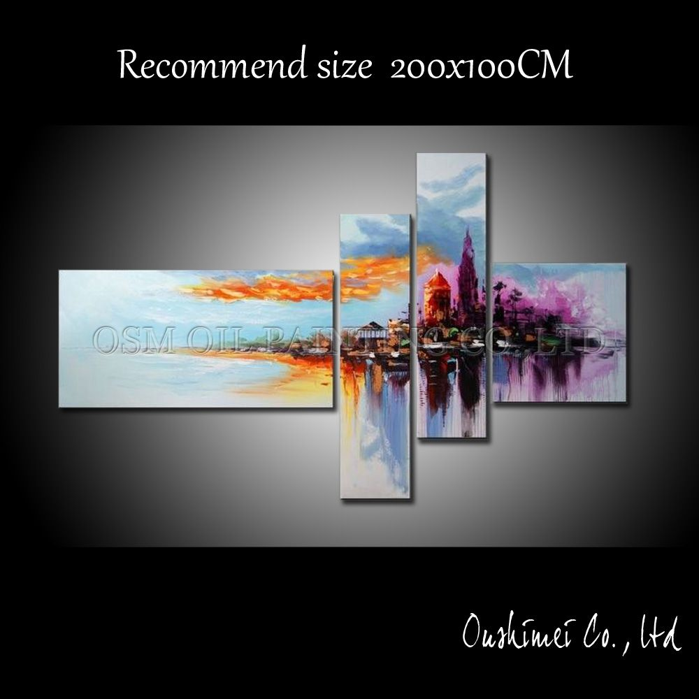 Professional Artist Pure Handmade Abstract Urban Landscape Oil Painting on Canvas High Quality Abstract City Oil Painting