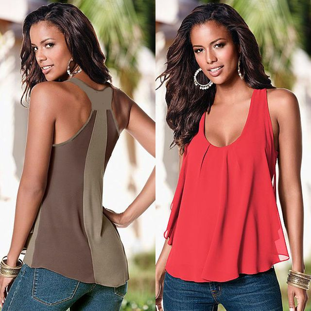 Hot Women Summer Casual Loose Tops Sleeveless Chiffon Vest T-Shirt Plus Size Wholesale