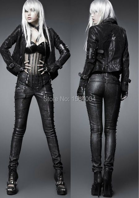 Punk Rock Nail Skull buttons Tights Manmade Leather Pants Trousers S M L XL XXL