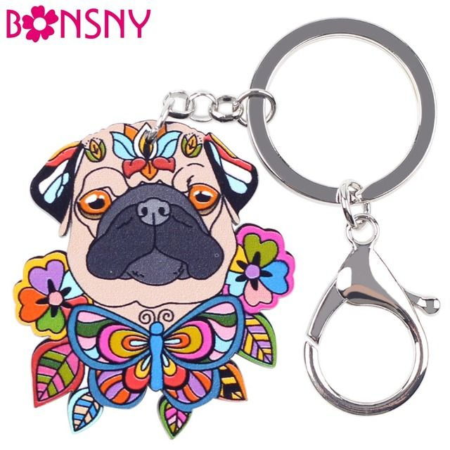 Bonsny Acrylic Statement Dog Jewelry Pug Dog Key Chain Key Ring Pom Gift For Women Girl Bag Charm Keychain Pendant Jewelry