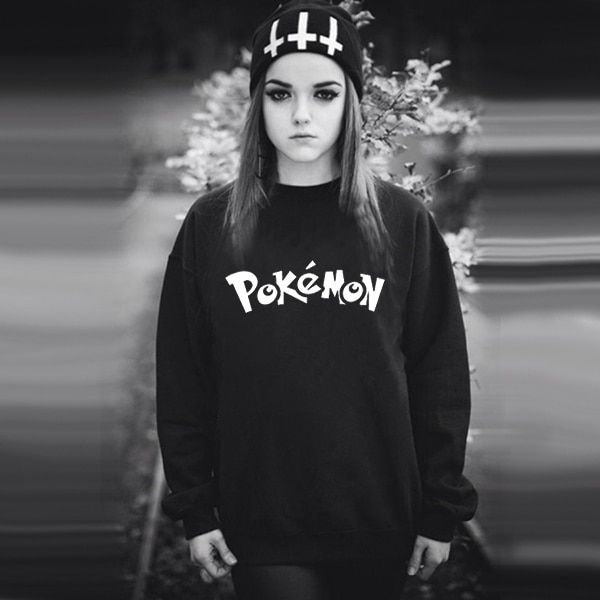 2017 Letter Print Women Sweatshirt Anime Totoro Pokemon Pikachu Printing Black Sweatshirts Jumper Comics Manga Clothes Japanese