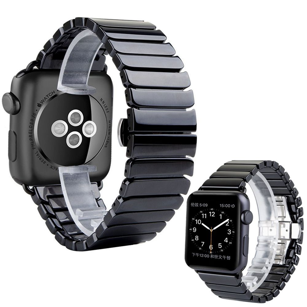 Ceramic Watch Band for Apple Watch 38/40mm 42/44mm Series 1 2 3 4 Link Bracelet Butterfly Buckle Black White Glossy Smart Watch