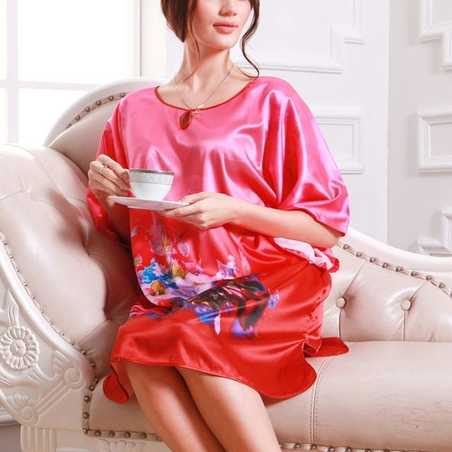 Hot Summer Sexy Robes Kimono Women Bath Gown Nightgown Soft Silk Sleepwear Dress