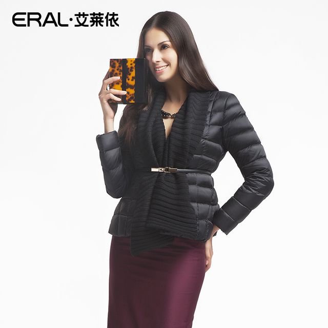 ERAL 2016 Winter Women's Luxury Knitted Patchwork Thermal Slim Short Down Jacket Female Coat ERAL2037D