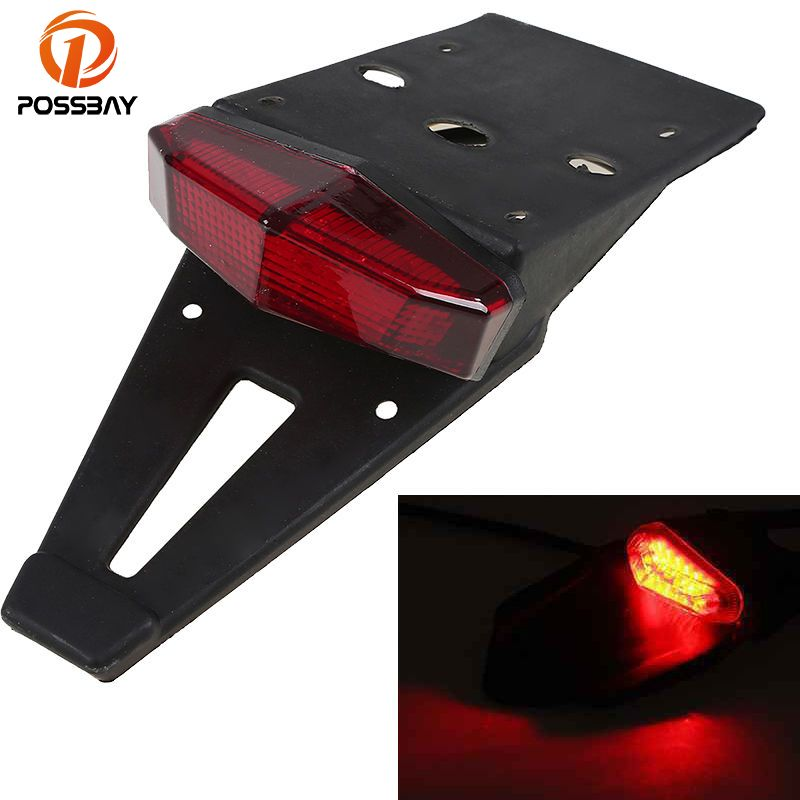 POSSBAY Universal Motorcycle Tail Light Rear Fender Warning LED Flashing Lamps Brake Stop Light for Harley Suzuki Yamaha BMW