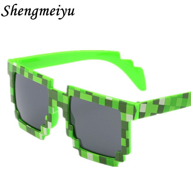 Sunglasses Men Thug Life Brand Designer Men Women's 8 Bits Pixel Retro Sunglasses Female Male Mosaic Sun Glasses