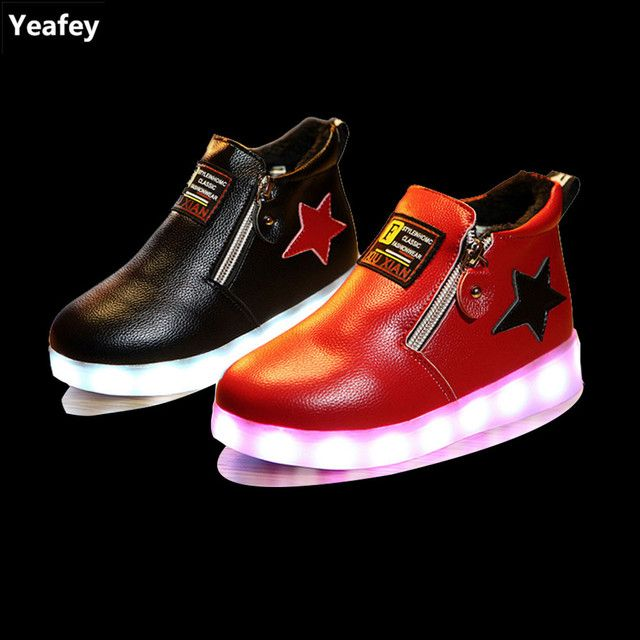 Yeafey Girls Led Children Shoes Boy Children Zip Luminous Illuminated Sneakers Black Red Star Size 26-31 Tenis Infantil Com Led