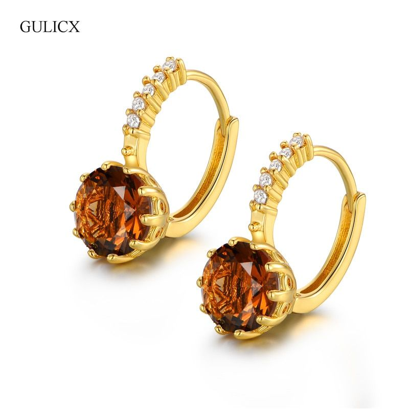 GULICX Best Quality Fashion Yellow Pure Gold-color CZ Element Stud Earrings For Women Brown Clear Stone Earrings Jewelry E006i