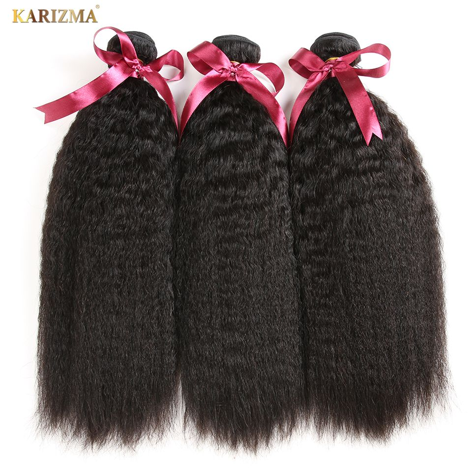 Karizma Peruvian Kinky Straight Hair Bundles 100% Human Hair Weave 3 Bundles Deal Natural Color 8-28inch Non Remy Hair Extension