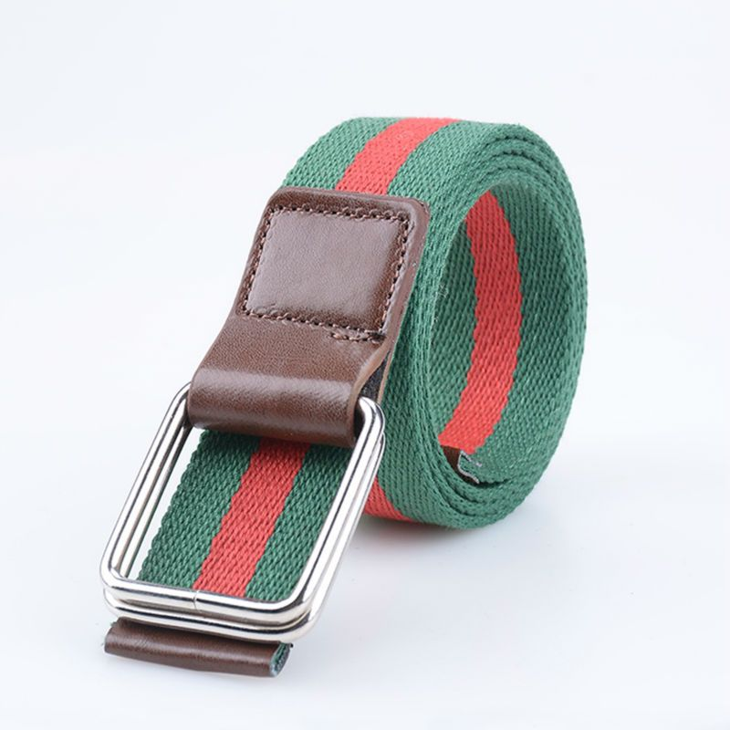 Men's Belt  Military Striped Fashion Korea Style Gifted Canvas Belt Couples Weave Canvas Belts Buckle