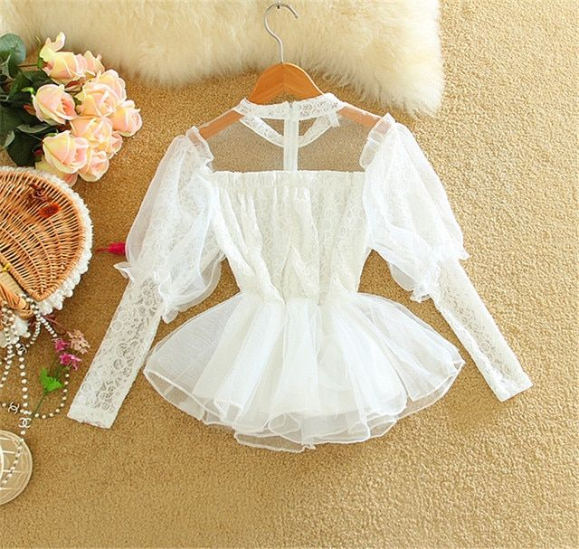 2016 Spring Women Cute Chiffon Blouse Lantern Sleeve See-through Lace Elastic Waist princess organza skirt gauze shirt clothing