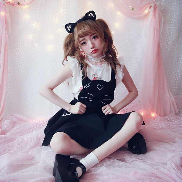 Princess sweet lolita skirt BOBON21 sauce three sisters adorable cat meow cat embroidery strap skirt B1364