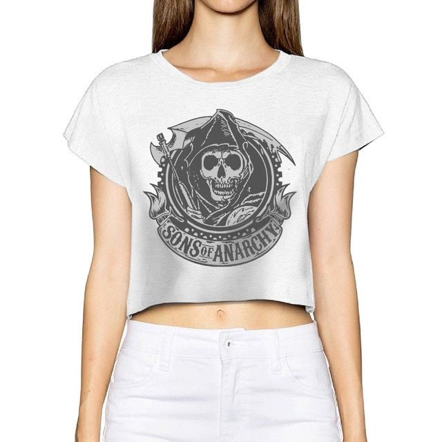 2017 SONS OF ANARCHY Women New 3D Print Summer Fashion Crop Tops Street t shirt Bare Midriff Sexy T-Shirt