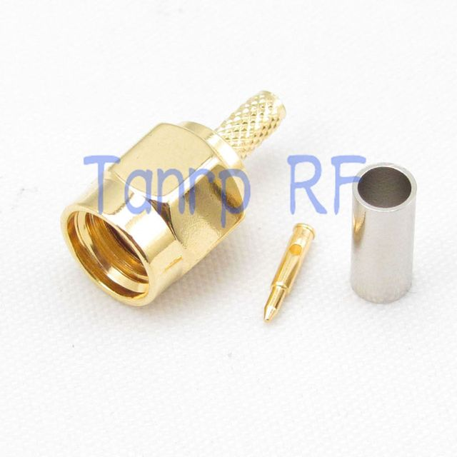 Free shipping! 10pcs/lots SMA male plug pin RF connector adapter crimp for RG174 RG316 RG188 RG179  cable wholesale