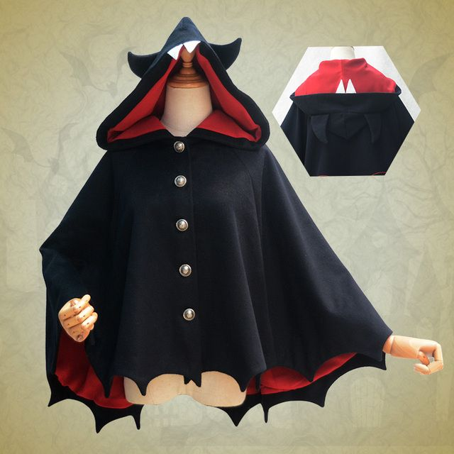 Halloween vampire bat hoodie cloak Fleece Cape in stock Gothic lolita Top cosplay for women free shipping 2016